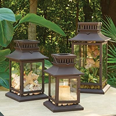 Hanging or Place on Tabletop Square Metal Outdoor Lantern Small