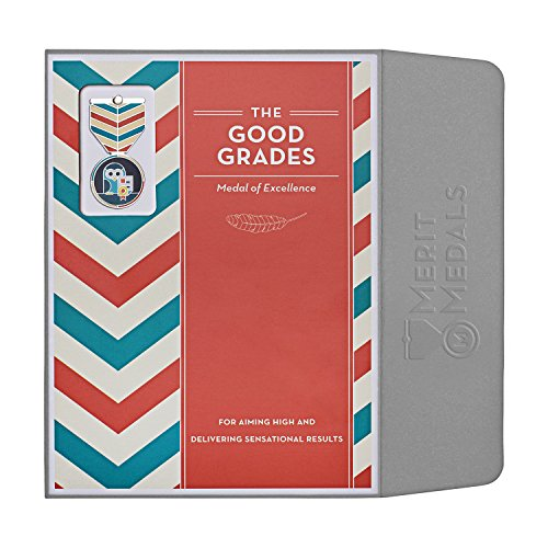 GOOD GRADES Award: Greeting Card & Gift (Enamel Lapel Pin / Necklace Charm) for Student Excellence by Merit Medals