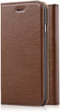 [Genuine Leather] [Apple New iPhone 6 (4.7) Wallet Case]- iXCC ® [Book Style] [Stand Feature] [Classic Vintage Style] Premium Ultra Slim with STAND Flip Cover , Protective Soft Genuine Leather Folio Wallet Cover Case - for Apple iPhone 6 4.7 Inch Late 2014 Model [Brown]