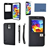 galaxy s5 case,By Ailun, window-view Case,PU Leather Case,Cut,Flip Cover Skin,(Black),with Screen protector with Styli Pen