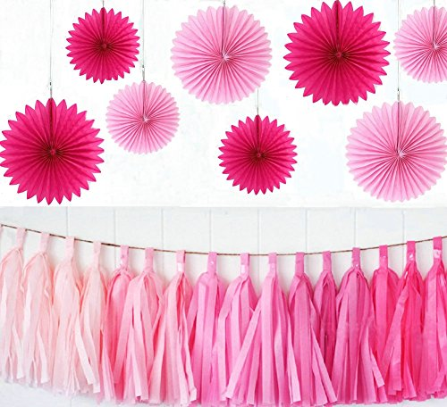 Zorpia® Party Wedding Decorations Paper Fans and Tassel Set - Assorted Fans of 10, 16-Inch, 23 Pieces, Assorted Colors (Pink and Rose) (Pink Fan Decoration compare prices)