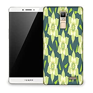 Snoogg Yellow Floral Designer Protective Phone Back Case Cover For OPPO FIND 7