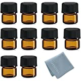 SIMPLE-E 100pcs 1ml (1/4 dram) Amber Mini Glass Bottle 1cc Amber Sample Vial Small Essential Oil Bottle Travel Must + 1PC Glass clean cloth