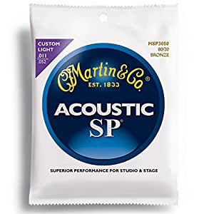 Martin MSP3050 SP 80/20 Bronze Acoustic Guitar Strings, Custom Light