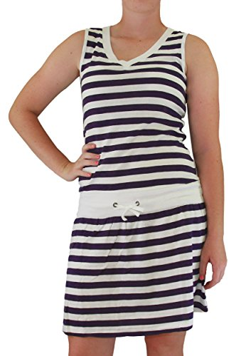 Euro Design Ladies Casual Cotton Summer Beach Cover-up Sun Dress (X-Small, Navy)