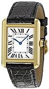 Cartier Womens W5200002 Tank Solo Black Leather Strap Watch