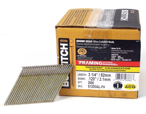 BOSTITCH S12DGAL-FH 28 Degree 3-1/4-Inch by .120-Inch Wire Weld Galavanized Framing Nails (2,000 per Box)