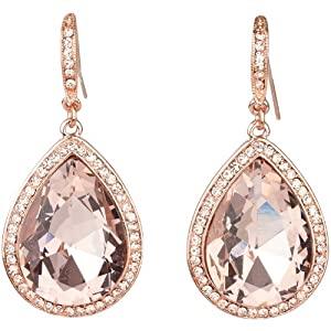 Classic Bling Dazzling Rose Gold Tone Pear Shape Earrings with Large Peach Crystals
