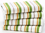Green Stripe - 4 Pack Oversized Dish Cloth sets in Spice by Cotton Craft - Size 15x15 - Pure 100% Cotton - Crisp Basketweave striped pattern with a hanging loop - Highly absorbent, soft & sturdy - Other colors - Spice, Red, Linen, Black & Blue - Easy care machine wash
