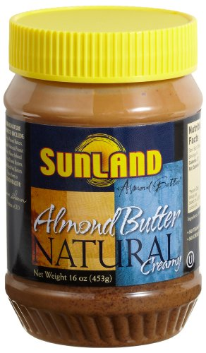 Sunland Almond Butter Creamy, Natural, 16-Ounce PET Jars (Pack of 3)