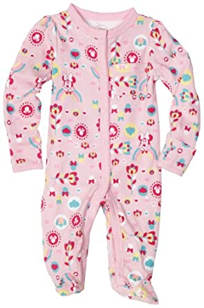 Disney Baby-Girls Newborn Minnie Mouse Floral Rainbow Sleep and Play Romper, Pink, 3-6 Months