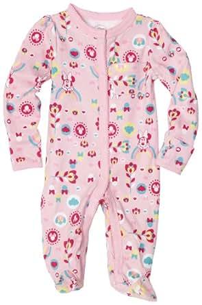 Disney Baby-Girls Newborn Minnie Mouse Floral Rainbow Sleep and Play Romper, Pink, 3-6 Months