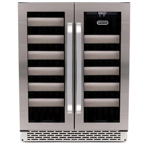 Whynter Bwr-401Ds Elite 40-Bottle Seamless Stainless Steel Door Dual Zone Built-In Wine Refrigerator front-7719
