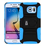 S6 Edge Case, Galaxy S6 Edge Holster case, SGM (TM) Hybrid Dual Layer Combo Armor Defender Protective Case With Kickstand + Belt Clip Holster For Samsung Galaxy S6 Edge (Blue)