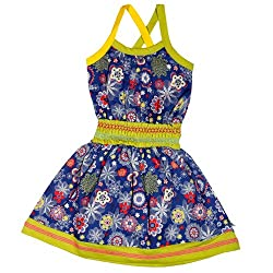 Buzzy Baby Girls' Cotton Spaghetti Dress (SABINA_Lime_6-9M)