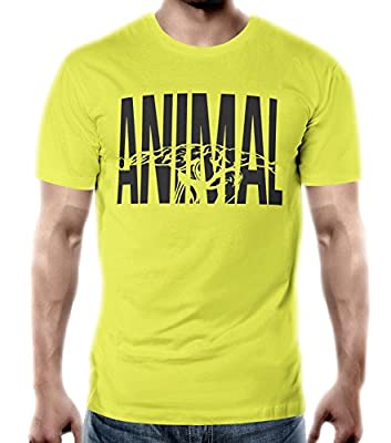 Finna Wear Men's Animal Gym Workout Bodybuilding Training T-Shirt Yellow