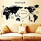 E-Love Fashion Map of World Trip Travel Black Removable Mural Wall Stickers Wall Decal Art for Office Home Decor