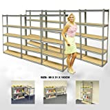 ELEPHANT® 7 PACK 76CM WIDE 5 TIER HEAVY DUTY STEEL WAREHOUSE RACKING GARAGE FREE STANDING SHELVING STORAGE