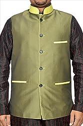 Adam In Style Dark Olive Cotton Silk Jacket For Men (Size: 48)