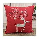 45x45cm Merry Christmas Xmas Gift Present Red Cartoon Deer Burlap Pillow Case Cushion Cover with 1pc Coaster