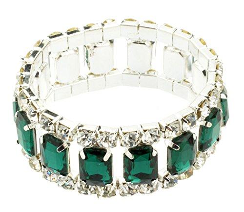 Btime Women Green Red Small Rectangle Rhinestone Bracelet(green)