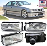 BMW E36 3-Series 92-98 Replacement Front Bumper Fluted Lens Fog Lights Lamps