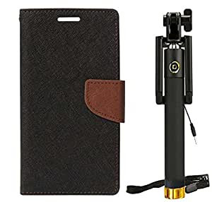 Novo Style Rich Diary Dual Wallet Flip CoverNokia Lumia 435 - Black Premium U-Shape Wired Selfie Stick No Battery Charging Self-portrait Extendable Selfie Stick