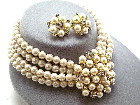 Bridal Wedding Jewelry Set Necklace Crystal Rhinestone Pearl Gold Creme 4 Row
