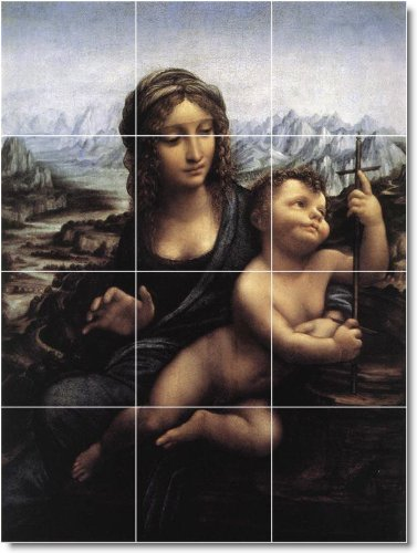 Leonardo Da Vinci Religious Custom Tile Mural 4. 36X48 Inches Using (12) 12X12 Ceramic Tiles. front-737904