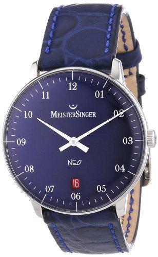 MeisterSinger NE208 - Reloj analógico automático unisex con correa de piel, color azul