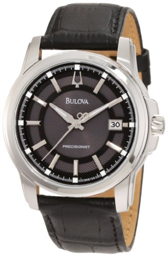 Bulova Men's Precisionist 96B158 Black Calf Skin Quartz Watch with Grey Dial