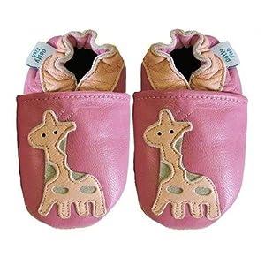 Acogedoras y suaves zapatos de cuero para bebé niña con suela de gamuza Dotty Fish Diseño De Jirafa de Dotty Fish en BebeHogar.com
