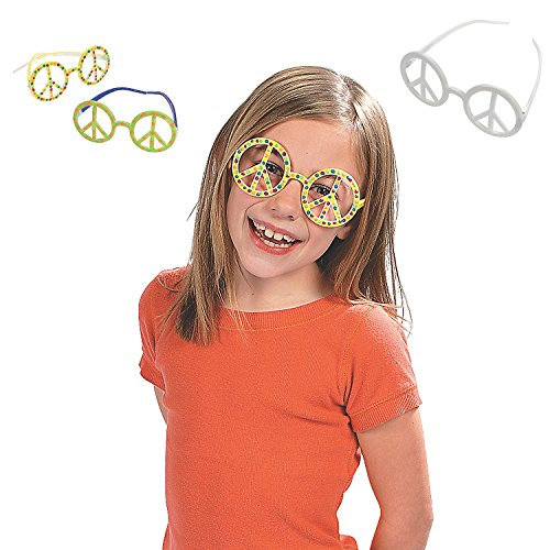 1 Dozen - DIY - Design Your Own - Plastic Peace Sign Glasses - 1