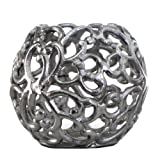 Homescapes - Silver Victorian Votive Tea Light Holder - 13 cm (5 in) Diameter - 100% Aluminium - Distressed Antique Finishby Homescapes