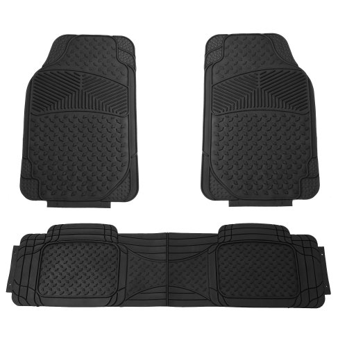 FH GROUP FH-F11307 Semi Custom Trimmable Heavy Duty Rubber Floor Mats Front & Rear - Black 3pc Set (Carros Ford compare prices)