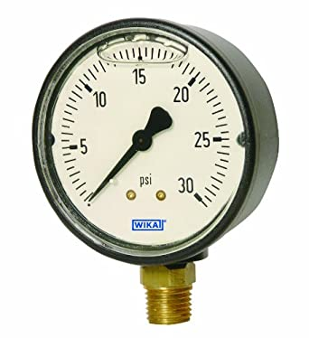 """WIKA 9693351 Commercial Pressure Gauge, Liquid-Filled, Copper Alloy Wetted Parts, 1-1/2""""  Dial, 0-15 psi Range, +/- 2.5% Accuracy, 1/4"""" Male NPT Connection, Center Back Mount"""