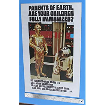 Immunization Poster 1979 Vintage Star Wars C-3PO R2-D2 Original