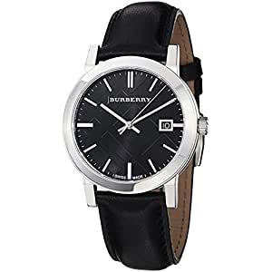Burberry bu9009 38mm stainless steel case black leather anti reflective sapphire men for Anti reflective watches