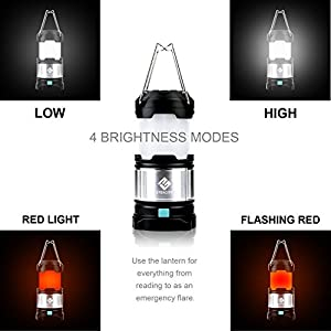 Etekcity 1 Pack Portable Rechargeable LED Camping Lantern Flashlights & 4400mah USB Power Bank (Black) from Etekcity