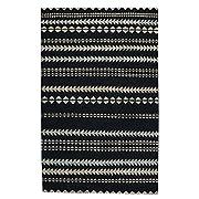 "Capel Rugs Genevieve Gorder Scandinavian Stripe 3 6"" x 5 6"" Hand Knotted Rug - Ebony Beige"