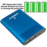 Deal of The Day!!! bPowered UP® Portable Charger External Battery Power Bank TRUE-6000 mAh - DUAL USB - Works on all Cell Phones & Tablets - iPhone, Samsung, iPads - $20 Aluminum 3-in-1 Cord with Lightening Plug Included- (Blue)