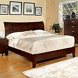 midland contemporary style brown cherry finish eastern king size bed frame set. Black Bedroom Furniture Sets. Home Design Ideas