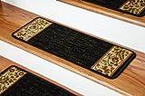 Dean Premium Carpet Stair Treads - Talas Floral Black (Set of 13)