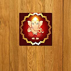 999Store doorhanging ganesha art printed wooden framed door sticker (4 x 4 inches)