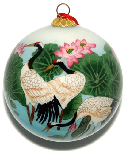 Ornament, Wading Cranes with Pink Lotus - CO184