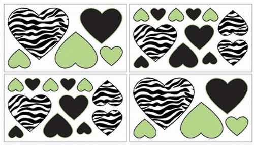 Zebra Lime Wall Decal Stickers by Sweet Jojo Designs - Set of 4 Sheets - 1