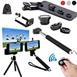 EEEKit 6in1 Kit for iPhone 6/iPhone 6 Plus iPhone 5S/5C/5/4S Samsung Galaxy S5/S4/S3 Samsung Galaxy Note 4/3/2 LG G3/G2 HTC One M8/M7 Google Nexus 4/5 Sony Xperia Z1/Z2 Motorala Moto X/G Cell Phone,Extendable Handheld Monopod for Compact Camera + Adjustable Smartphone Adapter Phone Holder + Retractable Rotating Tripod Stand Mount Holder+ WirelessBluetooth Remote Camera Shutter Release Control + Fish Eye Lens + Wide Angle Lens + Macro Lens + EEEKit Pouch (Black)