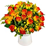 Clare Florist Roses and Freesia Fresh Flower Bouquet