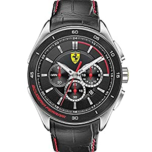 Scuderia Ferrari Watches Men's Grand Premio Chronograph Black Dial Watch On Leather