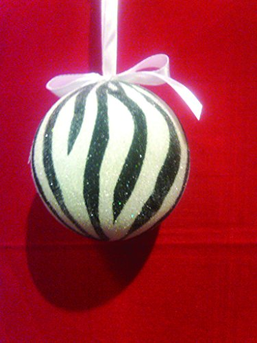 Black & White Zebra Striped Christmas Tree Ball Ornament